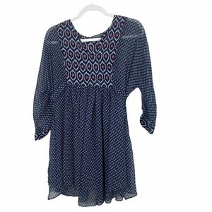 A Pea in the Pod Maternity Blue Sheer Tunic Blouse